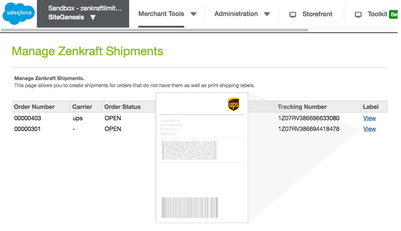 Shipping and Returns Salesforce Commerce Cloud Cartridge