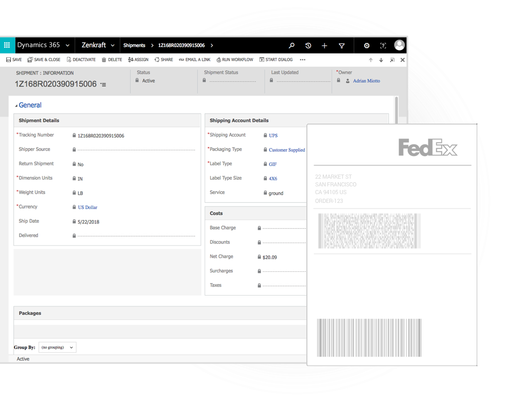 Shipping Integration for Dynamics CE - FedEx, UPS, USPS and 40+ more